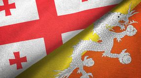 乔治亚和不丹两旗子纺织品布料,织品纹理 皇族释放例证