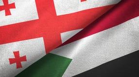 乔治亚和苏丹两旗子纺织品布料,织品纹理 库存例证