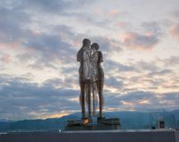 乔治亚,巴统,对恋人的一座纪念碑在黎明 图库摄影