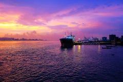 乔治城槟榔岛日落 免版税库存照片