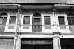 乔治市,马来西亚, 2017年12月19日:老大厦的门面在槟榔岛 图库摄影