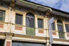 乔治市,马来西亚, 2017年12月19日:老大厦的门面 免版税库存图片
