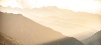 乔治亚日落在Svaneti 库存照片