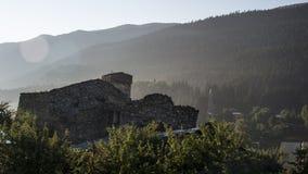 乔治亚, Gruzia, Mestia,从老塞提旅馆的看法 免版税图库摄影