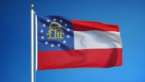 乔治亚(U S 在慢动作的状态)旗子无缝使成环与阿尔法 影视素材