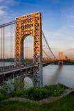乔治・华盛顿桥梁和哈得逊河日落的 免版税库存图片