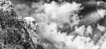 乔治・华盛顿-拉什莫尔山,侧视图 免版税图库摄影