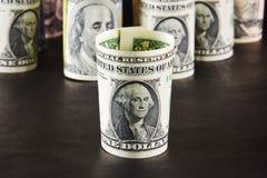 乔治・华盛顿画象美金的折叠了入a.c. 免版税库存图片
