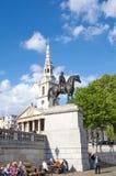 乔治四世国王雕象特拉法加广场的 免版税库存图片