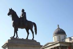 乔治四世国王雕象,国家肖像馆,特拉法加广场,伦敦,英国 库存照片
