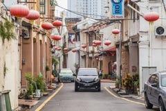 乔治城,槟榔岛/马来西亚-大约2015年10月:老乔治城,槟榔岛,马来西亚街道和建筑学  图库摄影