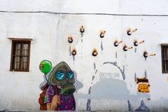 乔治城,马来西亚- 2016年9月07日:关于抽烟的街道艺术 免版税图库摄影
