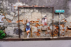 乔治城,马来西亚- 2016年9月07日:有街道艺术的游人 库存图片