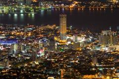 乔治市槟榔岛马来西亚鸟瞰图在晚上 免版税库存照片
