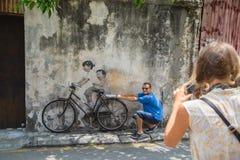乔治市,槟榔岛,大约2015年3月26日的马来西亚:公开stree 免版税图库摄影