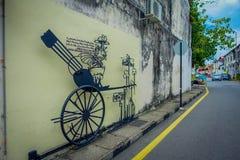 乔治市,马来西亚- 2017年3月10日:大炮街道画,在大炮街道的街道艺术 免版税库存图片