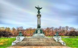 乔治艾蒂安在皇家山的卡地亚Monument先生在蒙特利尔,加拿大 免版税库存照片