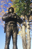乔治巴顿,美军学院,西点军校, NY雕象在秋天 免版税库存图片