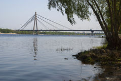 乔治Fuchs桥梁,基辅,乌克兰 免版税库存照片