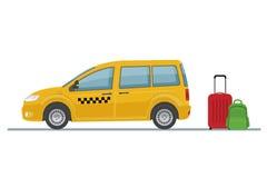 乘出租车在白色背景和行李隔绝的汽车 皇族释放例证