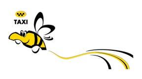 乘出租车,滑稽的出租汽车商标土蜂,蜂,出租汽车商标,滑稽的出租汽车商标,色,传染媒介,例证,新, 库存例证