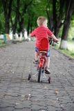 乘坐一辆自行车的小男孩在公园 库存图片