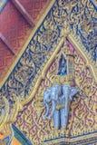 乘坐三个头大象的天使美好的雕塑在 免版税图库摄影
