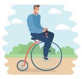 乘坐便士极少量的人在公园骑自行车 皇族释放例证