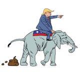 乘坐共和党大象讽刺画的唐纳德・川普 免版税库存图片