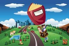乘坐在一个热空气气球的孩子 免版税库存图片
