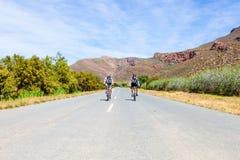 乘坐在南部非洲的干旱台地高原的沥青路的两个骑自行车者 库存照片