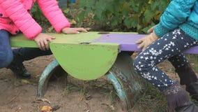 乘坐在摇摆的两个小女孩户外 股票录像