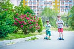 乘坐在滑行车的两个小男孩在夏天公园 互相微笑和看 在T恤杉和裤子的穿戴 好的晴朗的evenin 图库摄影