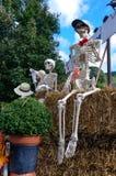 乘坐在秋天的一收获hayride的万圣夜骨骼 免版税库存照片