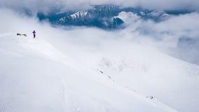 乘坐在滑雪的滑雪者和挡雪板倾斜 免版税库存图片