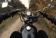 乘坐摩托车砍刀的骑自行车的人在秋天森林里 影视素材