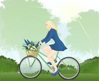 乘坐自行车的妇女 库存照片