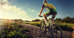 乘坐自行车的骑自行车者 免版税库存图片
