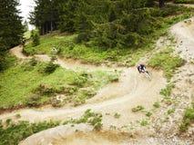 乘坐通过森林的山骑自行车的人 库存照片