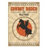 乘坐野马的牛仔 与文本的西部葡萄酒圈地海报 免版税库存照片