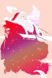 乘坐雪撬例证的圣诞老人 免版税库存照片