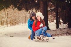 乘坐雪撬的愉快的夫妇 库存照片