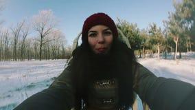 乘坐雪橇的女孩 股票录像