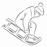 乘坐雪橇的孩子的例证 图库摄影