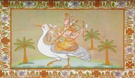 乘坐鸟的Hinduist神在印地安绘画 库存照片