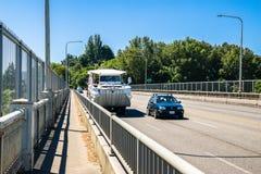 乘坐鸭子西雅图华盛顿 免版税库存图片