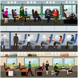 乘客公共交通工具概念被设置的传染媒介横幅 人们在公共汽车、火车和飞机上 运输内部 免版税库存图片