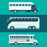 乘客公共汽车集合平的设计  向量例证