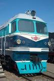 乘客和货物TG-102机车关闭的客舱 Oktyabrskaya铁路铁路运输博物馆  免版税库存照片