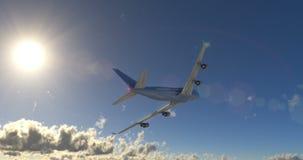 乘客在云彩的飞机飞行 库存例证